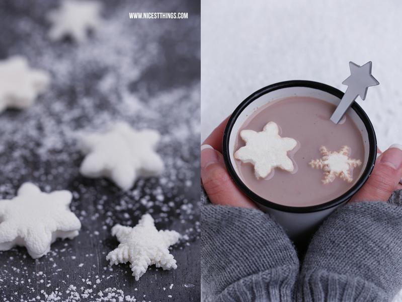Marshmallows selber machen Schneeflocken Marshmallows Rezept
