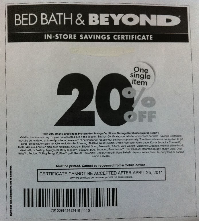 Bed bath and beyond in store coupon