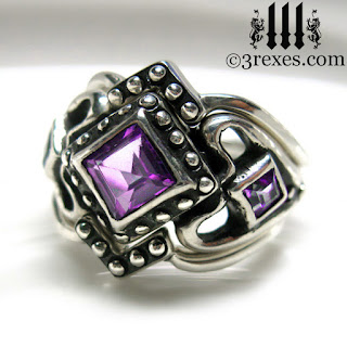 womans princess love gothic amethyst wedding ring with silver stacking bands