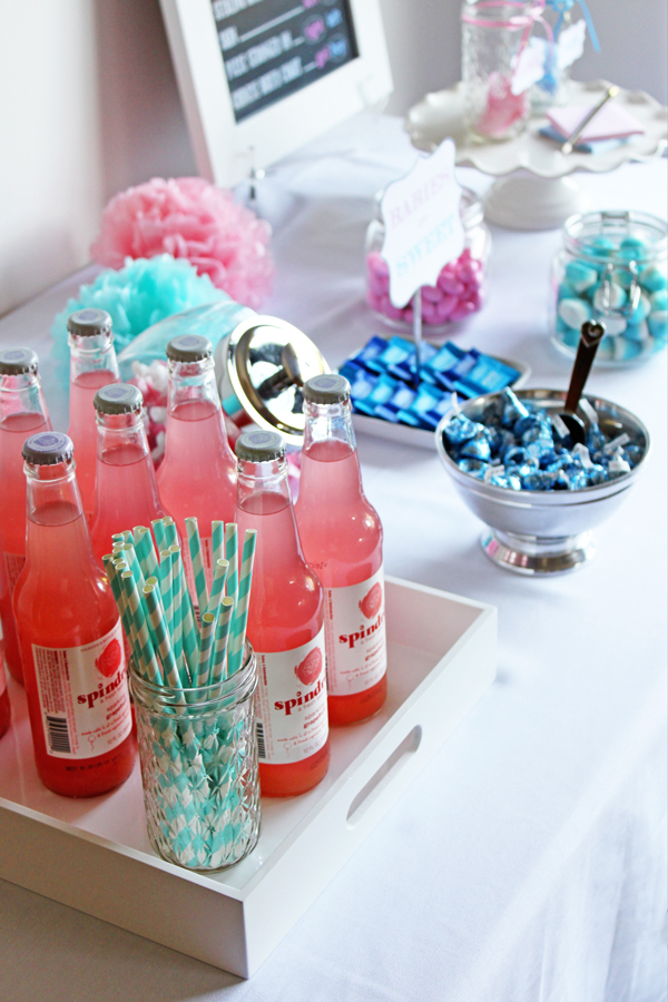Blue & pink candy & beverage bar for a baby gender-reveal party