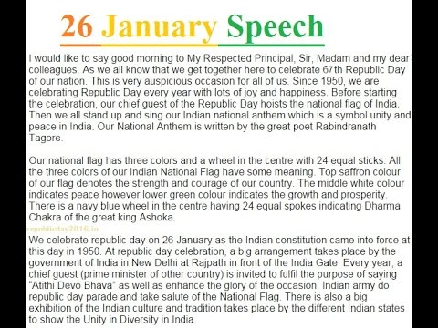 68th Republic Day 26 January Speech