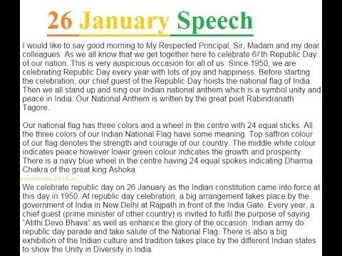 72 Republic Day 26 January Speech