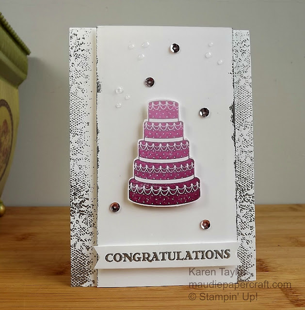 Stampin' Up! Summer Sorbet congratulations cake card using ombre inks