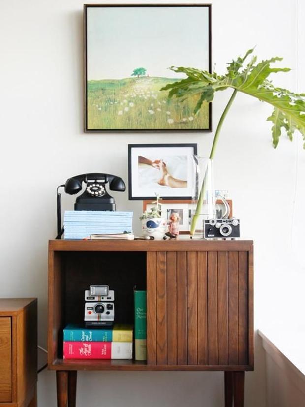 Telefone antigo na decoração, decoração vintage e retrô