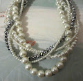 Multi Layered, Chunky Pearl and Crystal Bridal Necklace