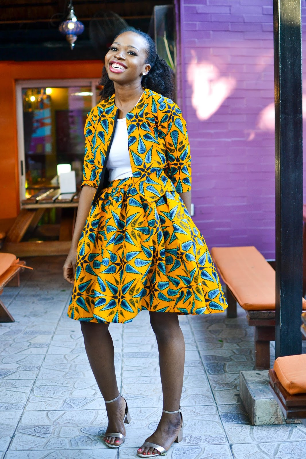 African Skirt and Jacket on a Beautiful Black Blogger