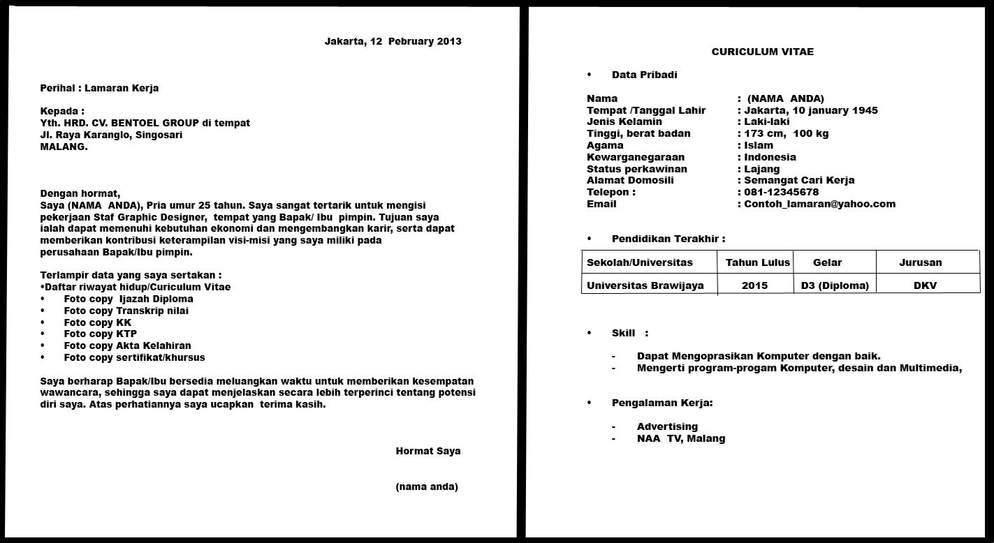Contoh Surat Lamaran Kerja Dan Cv Yg Baik Dan Benar Susan Jobs