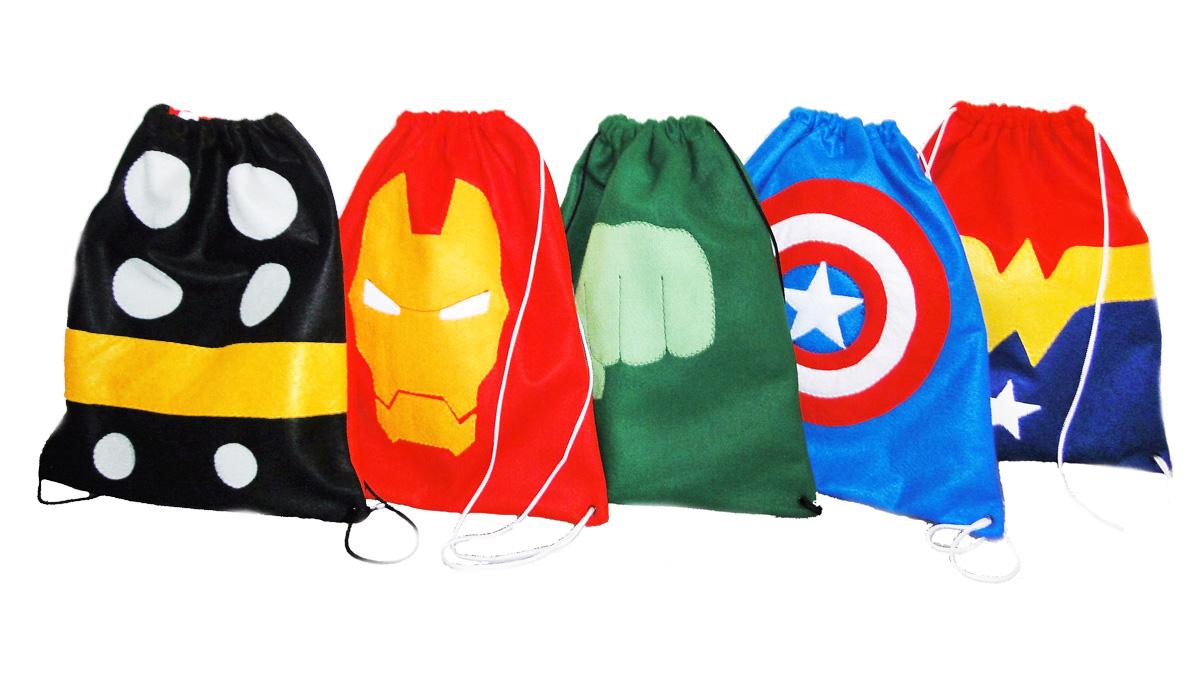 f7f04e22a FashionArts: sacolinhas tipo mochila: super heróis!