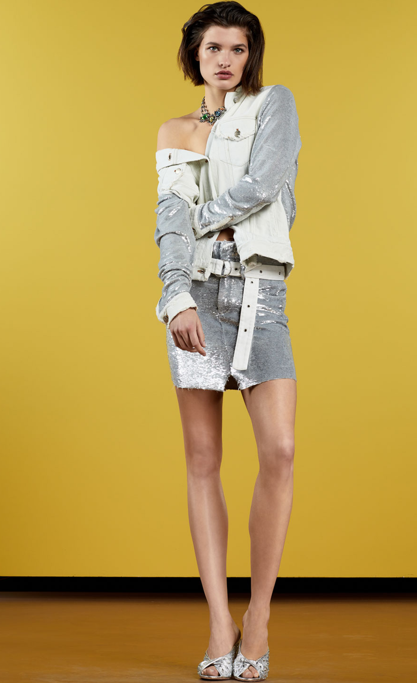 Iro Nanopo Frayed Sequined Denim Jacket