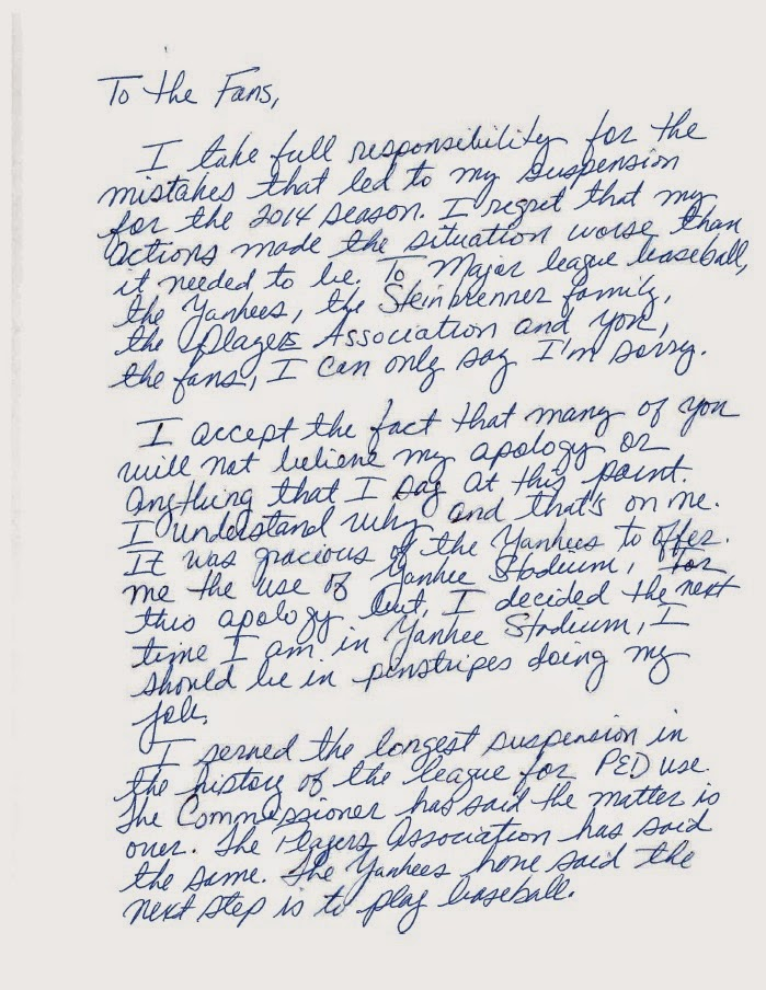 the other paper A-Rod issues hand-written apology letter to fans