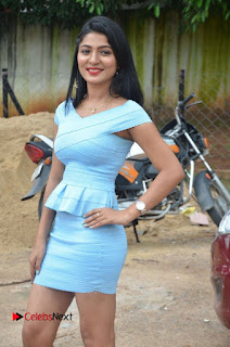 Actress Ankitha Jadhav Pictures in Blue Short Dress at Cottage Craft Mela 0002.jpg