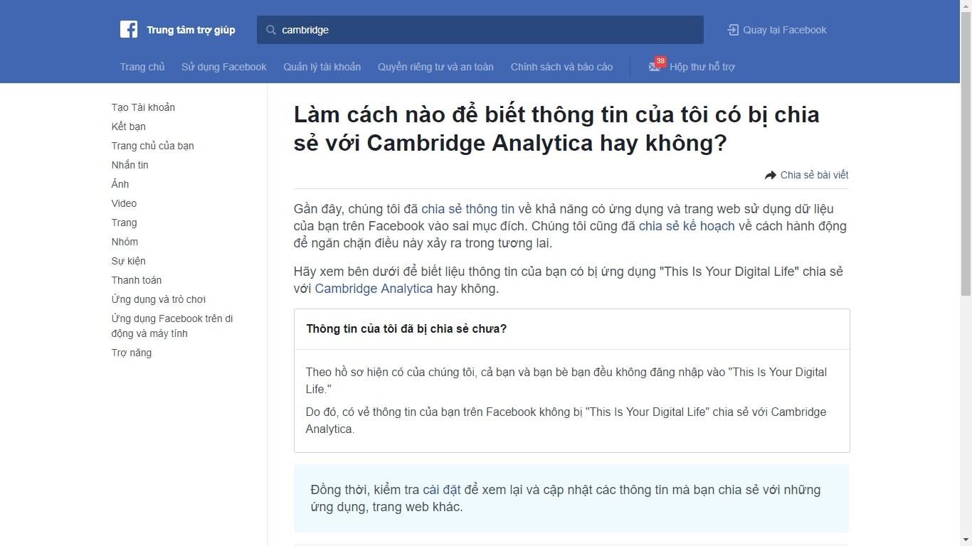 Cách Kiểm Tra Thông Tin Facebook Có Bị Chia Sẻ Với Cambridge Analytica Hay Không