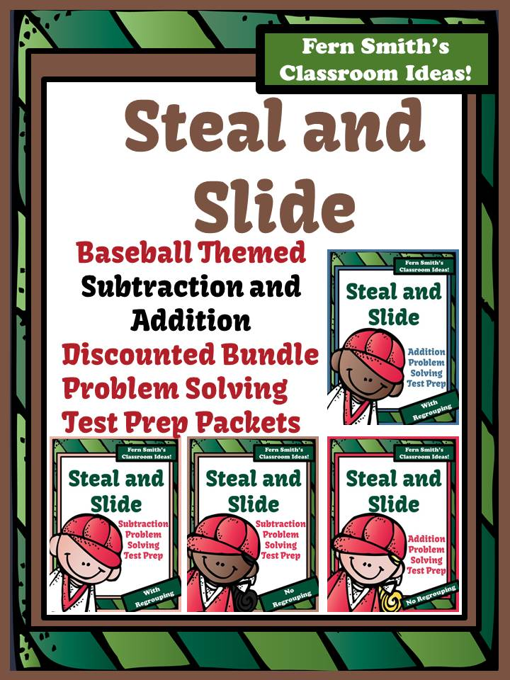 Fern Smith's Test Prep Discounted Bundle Baseball Steal and Slide - Addition and Subtraction