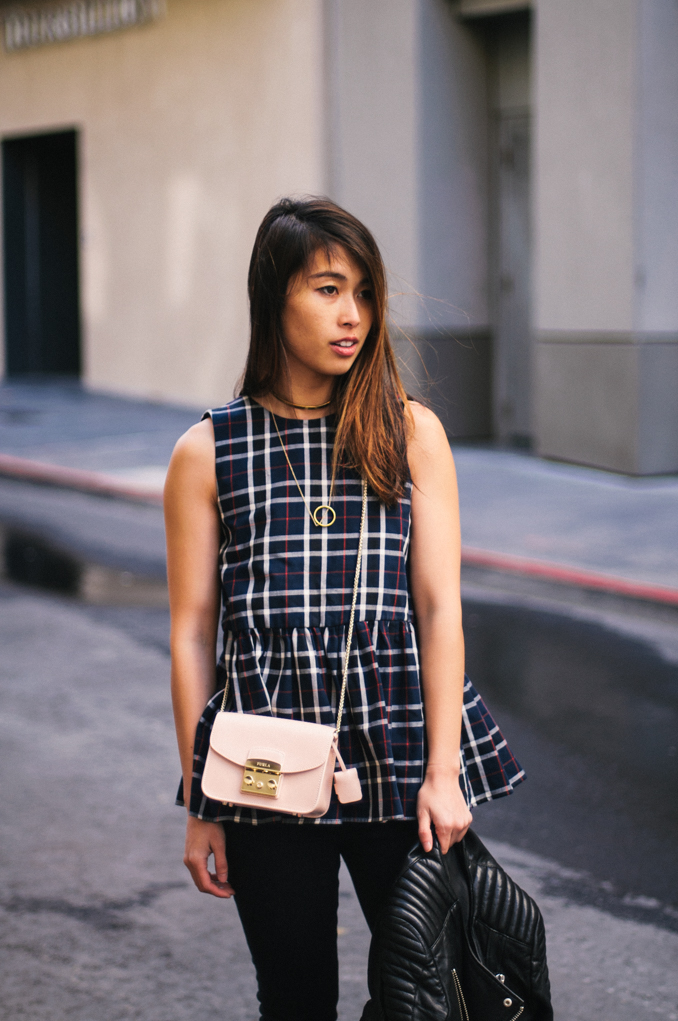San Francisco Fashion Blogger wearing Zara gathered waist top and furla metropolis crossbody