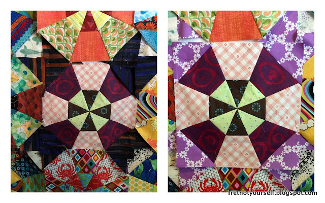 Setting variation for kaleidoscope quilt blocks creates a tulip or star shape.