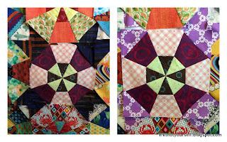 Setting variation for kaleidoscope quilt blocks creates a tulip or star shape.