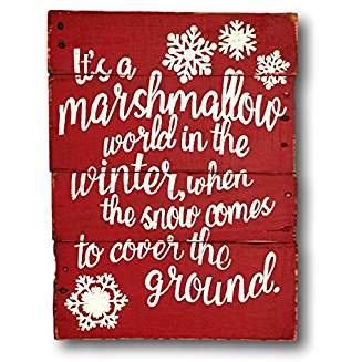 Marshmallow World in the Winter Sign #marshmallowworld #christmasmusic #learnyourchristmascarols #christmasdecor Available on Amazon