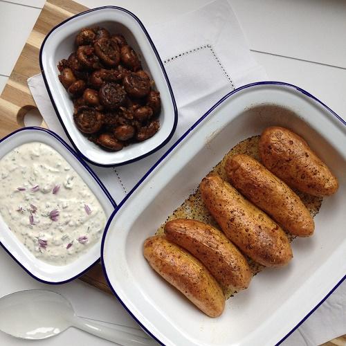 geschmorte Champignons mit Zwiebel, Knoblauch und Chili