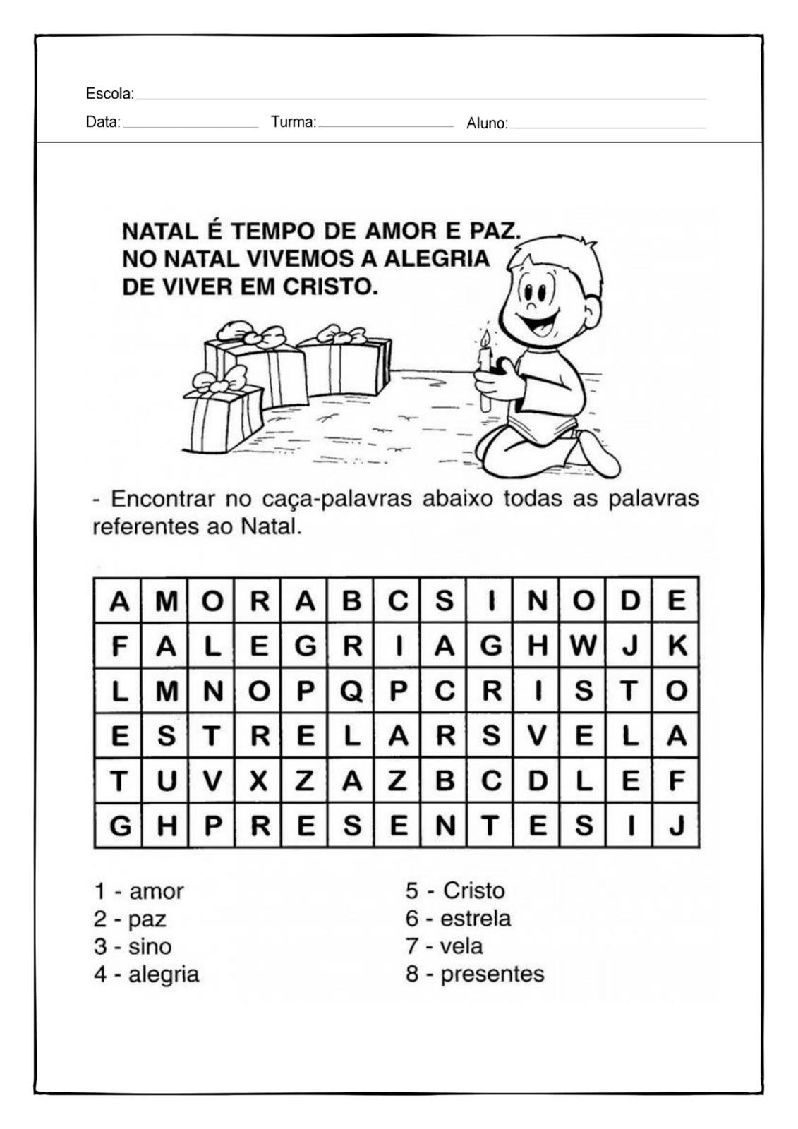 Modelos De Atividades Escolares Caca Palavras Natal Para 1º E 2º Ano