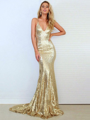 Trumpet/Mermaid V-neck Gold Sequined Ruffles Sweep Train Backless Hot Prom Dresses