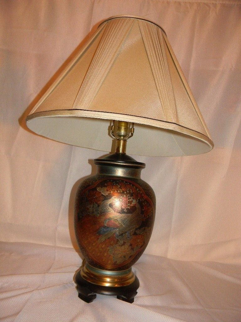 Rare vtg frederick cooper asian inspired porcelain hand painted table lamp