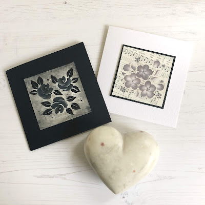 Handpainted cards, one black, one white.  Both feature a square of vintage music sheets that have been painted on to using You Can Folk It painting kits.