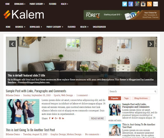 Kalem is a complimentary blogger template amongst features such every bit  Free Download Kalem blogger template