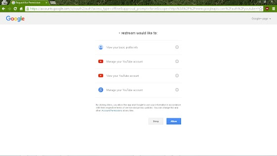 allow or deny Restream.io from acceess your YouTube account