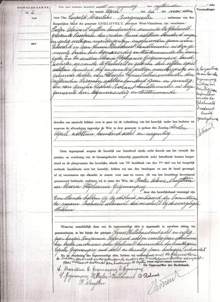 Mariage de Pierre Nytten et Marie Grymonprez le 15.04.1898 à Geluveld