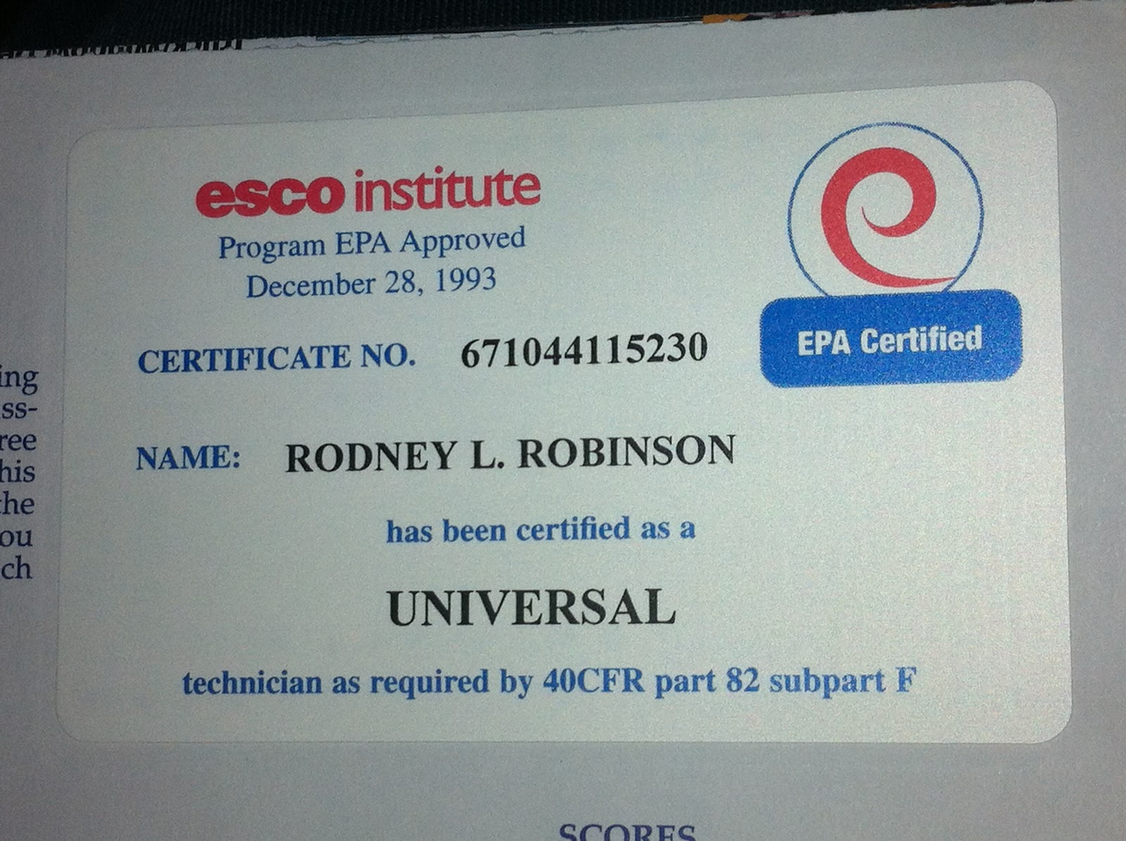 Occupational Safety and Health Administration Training / Environmental  Protection Agency Certification Card