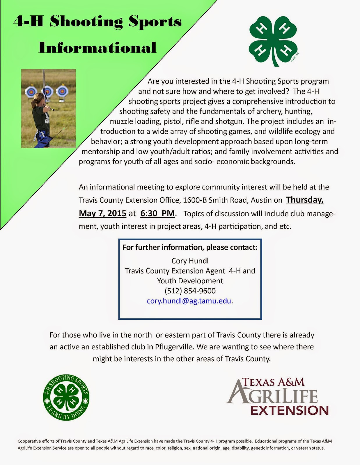 Travis County 4-H: 4-H Shooting Sports Informational - May 7th
