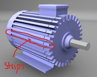 strips are provide to increase surface area of induction motor to imporve cooling