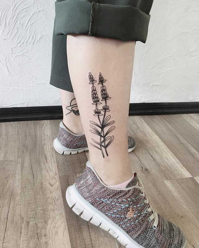modern Lavender Tattoo on Ankle