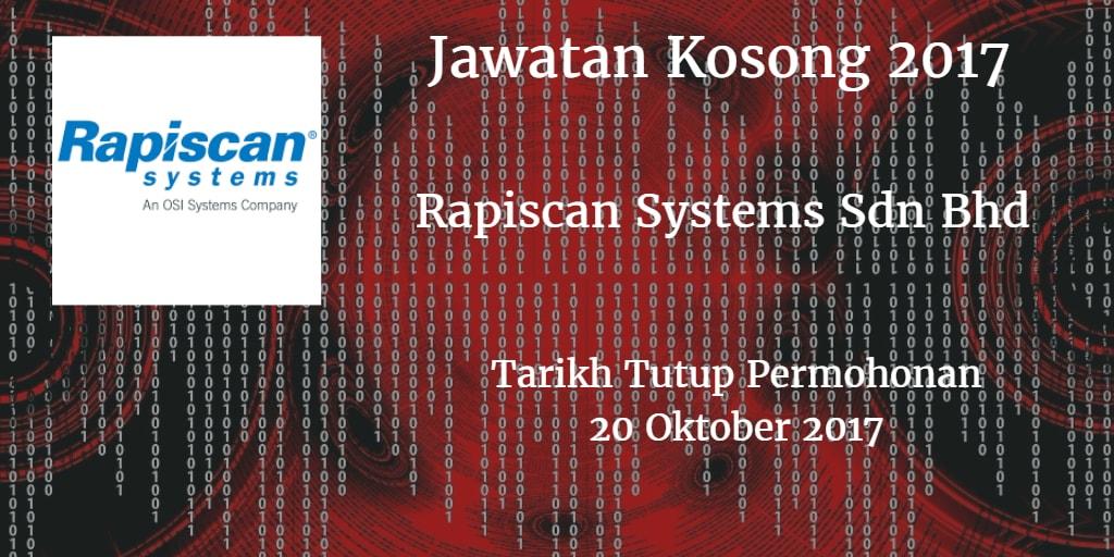 Jawatan Kosong Rapiscan Systems Sdn Bhd 20 Oktober 2017