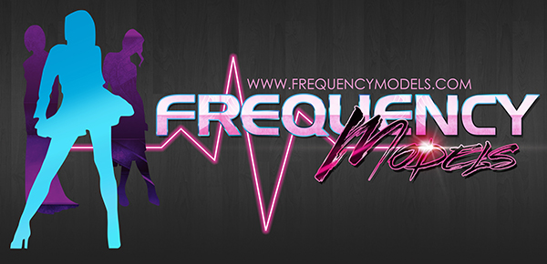 Frequency Models Logo Design on Grey Wood Grain Background