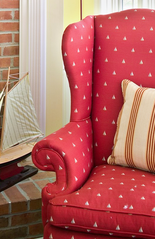 Red Sailboat Fabric Wing Chair