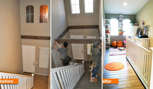 Before After Turn Dead Space Above A Staircase Into A Playroom Diy Home Decor
