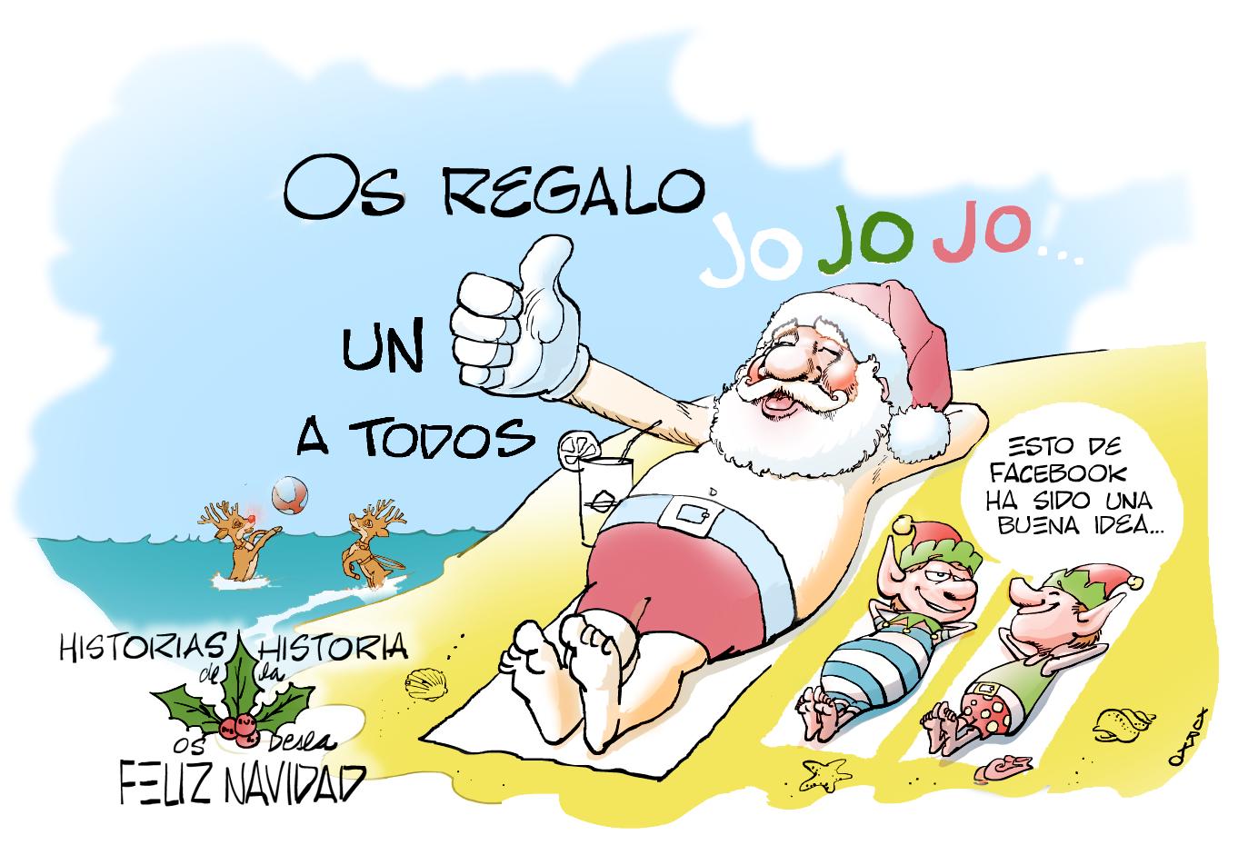 Santa Claus descansando en la playa