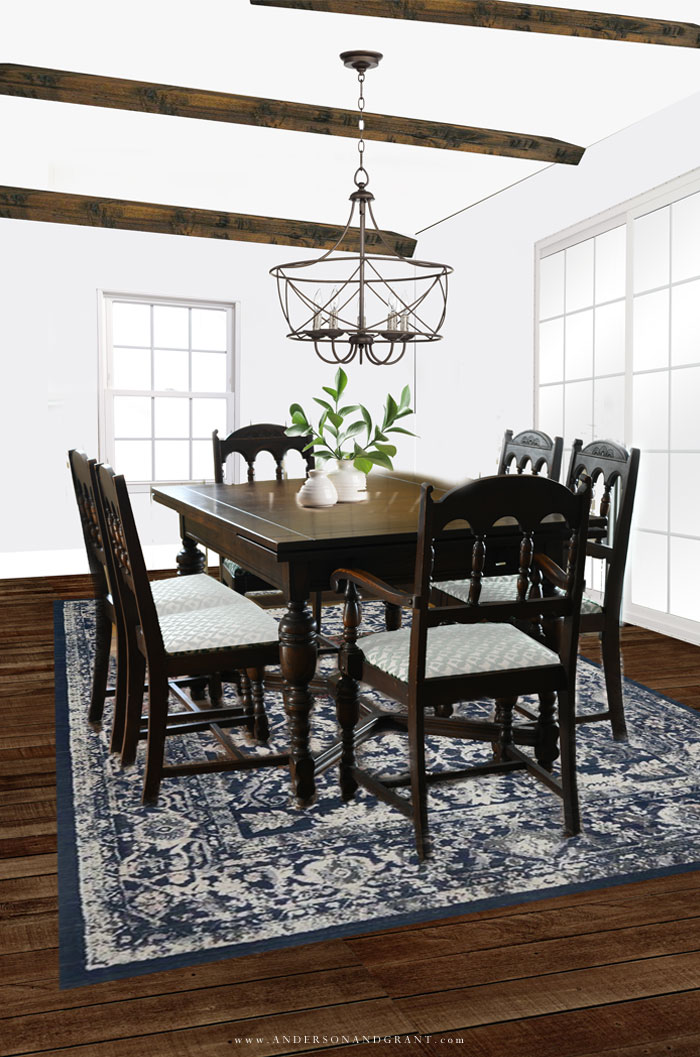 Farmhouse style dining room with antique table