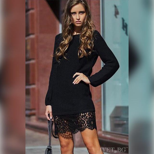 Μακρυμάνικο mini μαύρο φόρεμα DREAMY