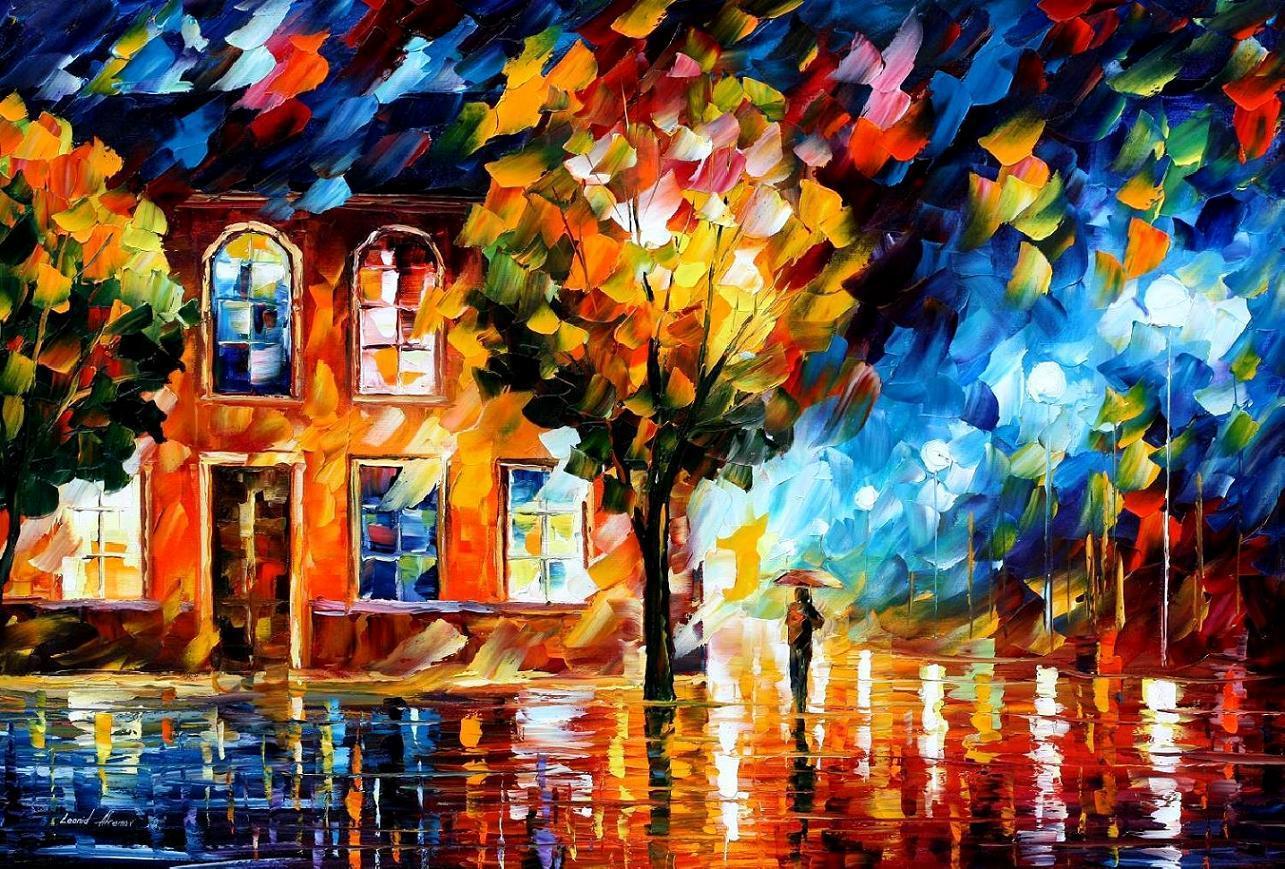 Violetas neo impresionismo leonid afremov pintura - Color y pintura ...
