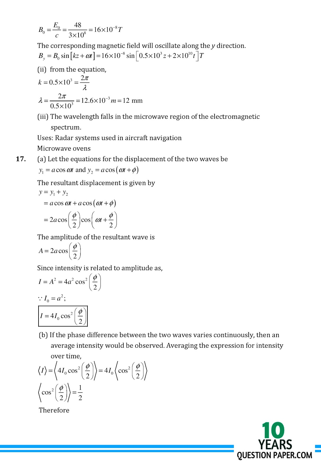 last 10 years cbse 12 physics question papers