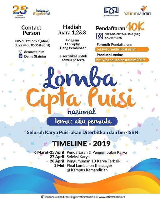 Lomba Cipta Puisi Nasional Indonesia Mandiri Fest 2019 Mahasiswa