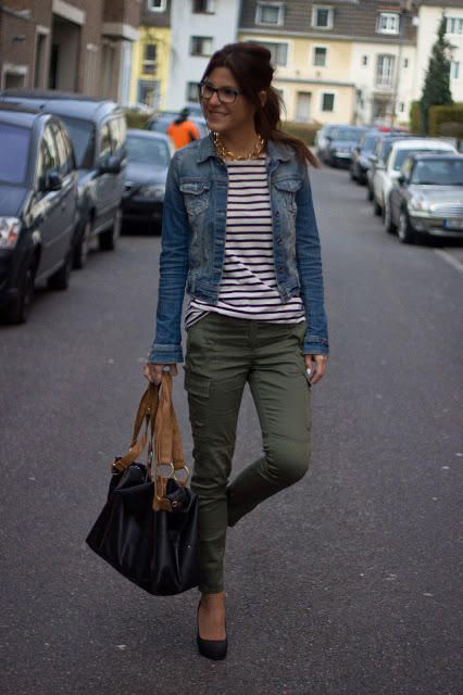 olive green skinny cargo pants striped tee denim jacket casual street style