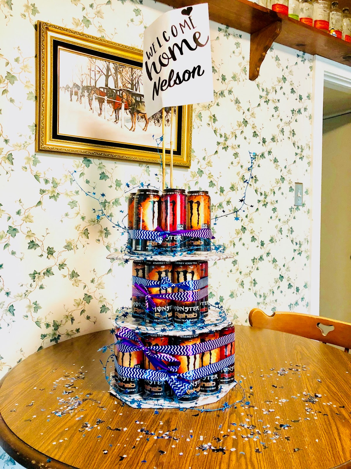 army, beer can cake, can cake, can cake idea, energy drink ideas, monster cake idea, monster energy drinks, monster rehab energy tea, welcome home, welcome home gift,