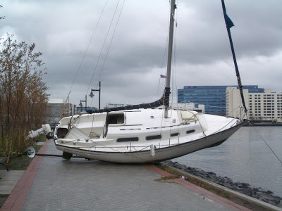 Sailboat on sidewalk