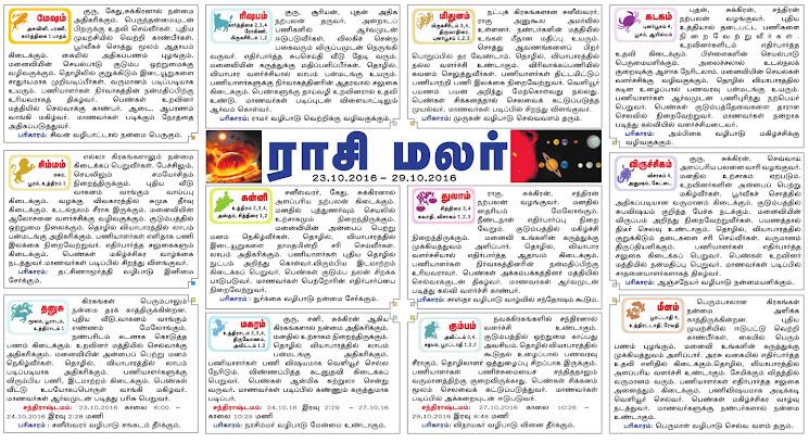 Dinamalar Newspaper Rasipalan