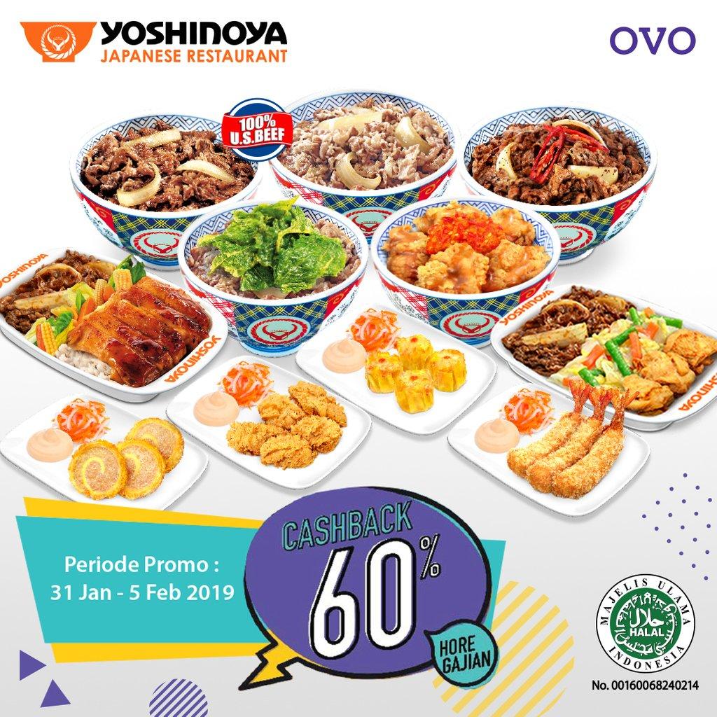 #Yoshinoya - #Promo Cashback 60% Maks 30K Pakai OVO (s.d 05 Feb 2019)