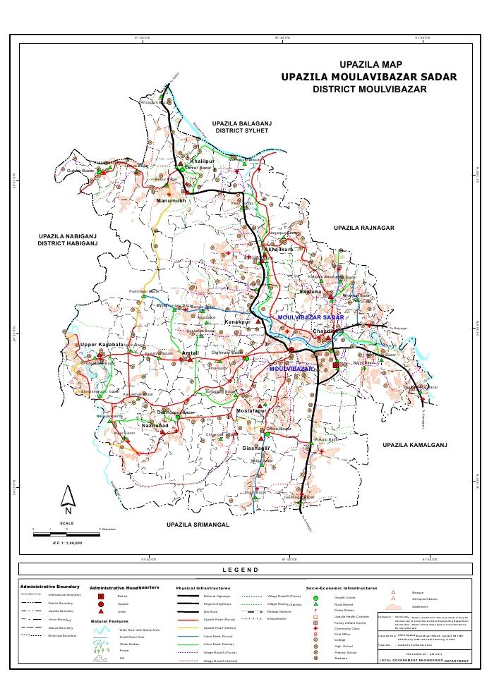 Moulvibazar Sadar Upazila Map Moulvibazar District Bangladesh