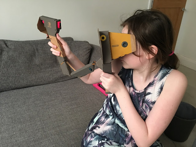 sasha using nintendo labo elephant VR kit